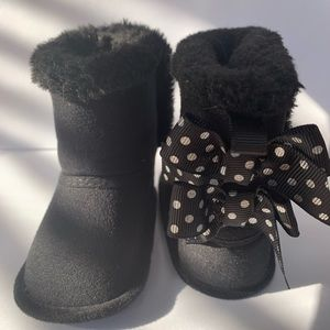 Size 2 soft sole black boots with bows